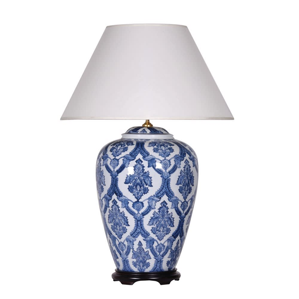 Blue and White Patterned Vase Lamp with Shade