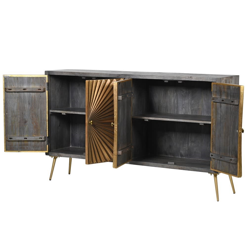 Brass Sunburst 4 Drawer Sideboard