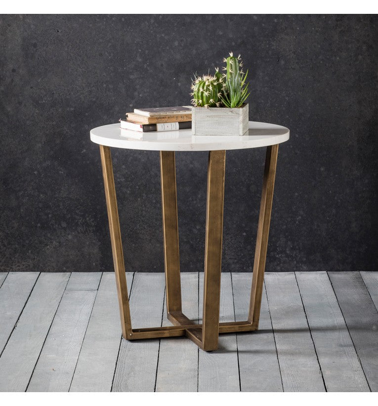White Marble Round Side Table