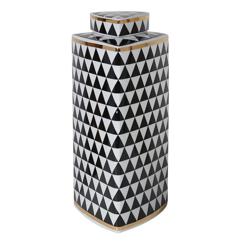 Large Tri Geometric Monochrome Jar