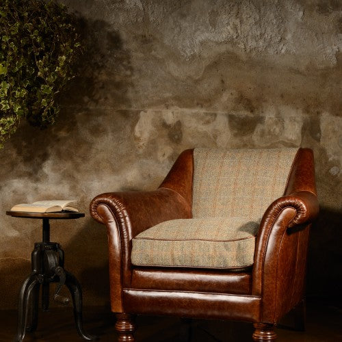 Dalmore Accent Chair in Hide & Tweed
