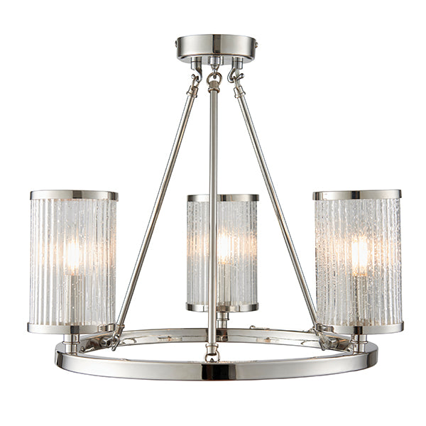 Nickel Plate 3 Cylinder Ribbed Glass Lights
