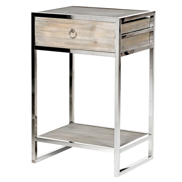 Wood & Stainless Steel Bedside Table