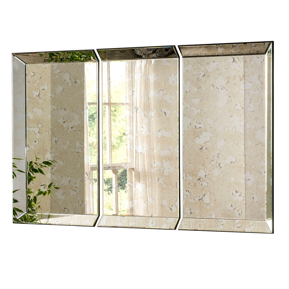3 Panel Antique Silver Tinted Wall Mirror