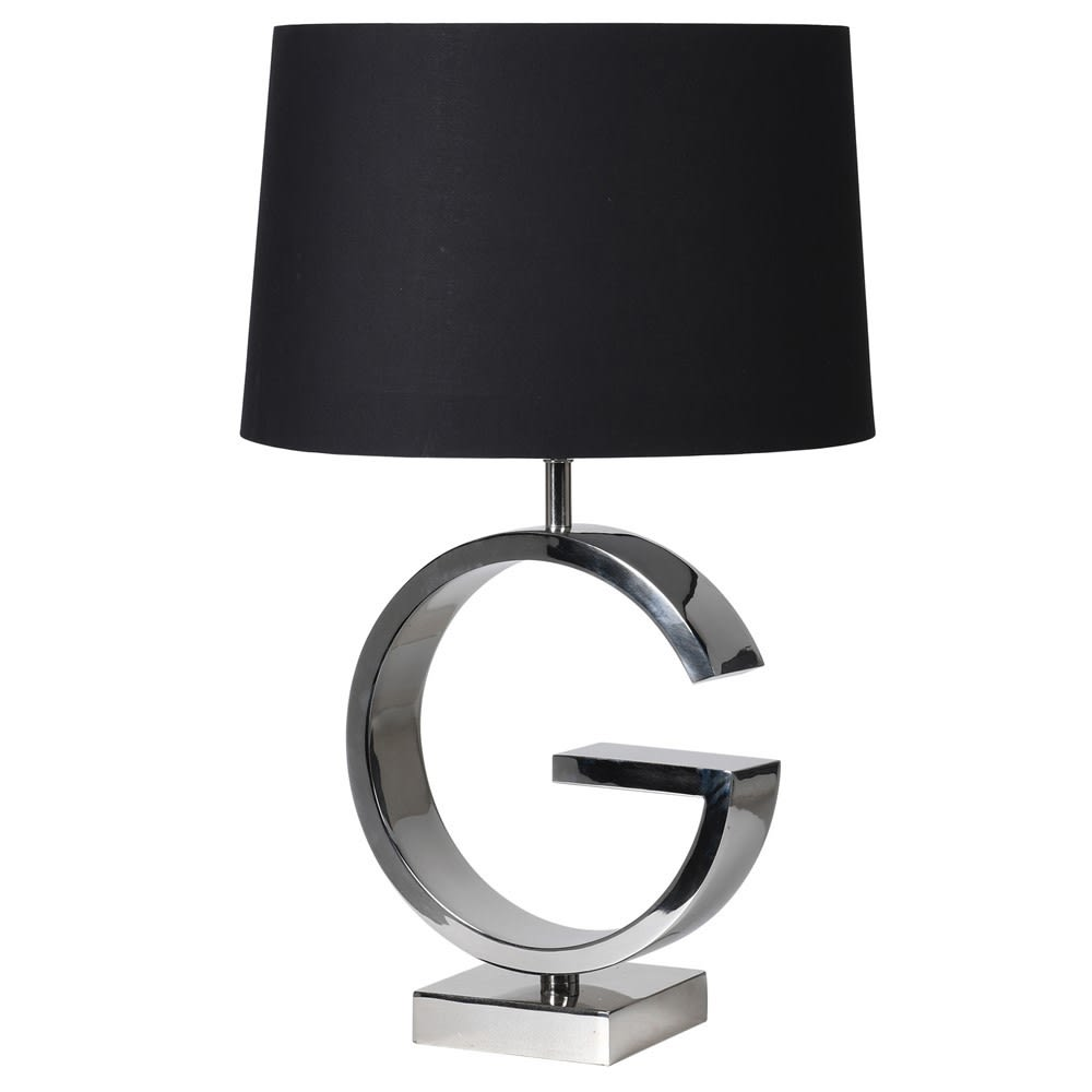 G Steel Table Lamp with Black Shade