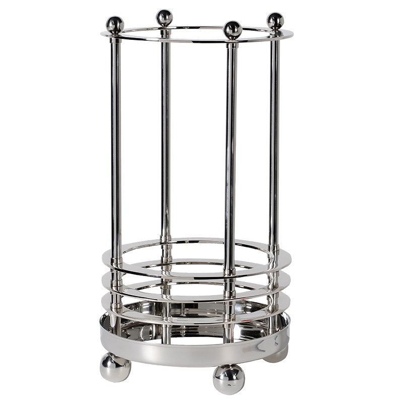 Nickel Finish Deco Umbrella Stand