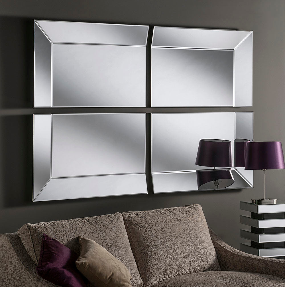 Wide 4 Panel Silver Wall Mirror