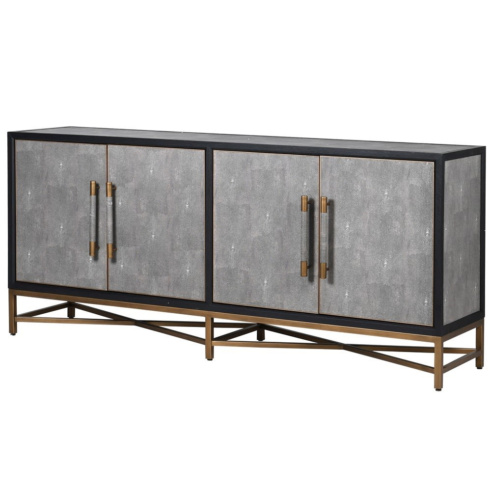 Kyoto Oak & Shagreen 4 Door Sideboard