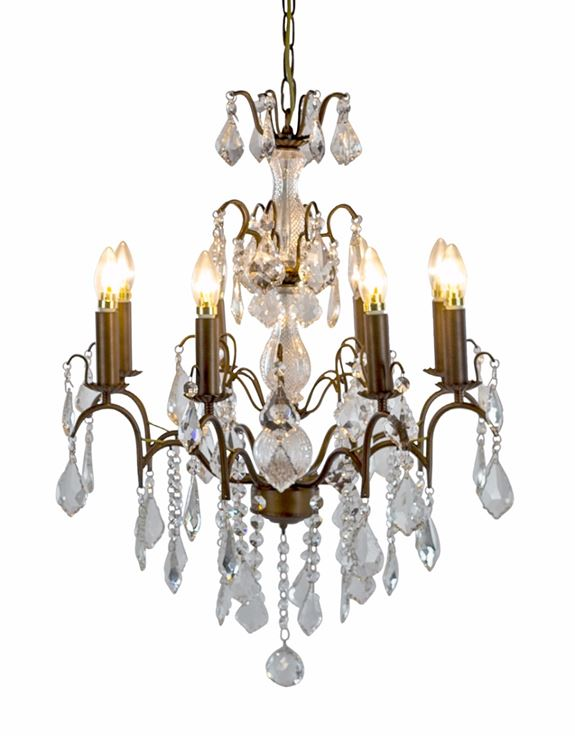 Large 8 Light Antique French Bronze Chandelier