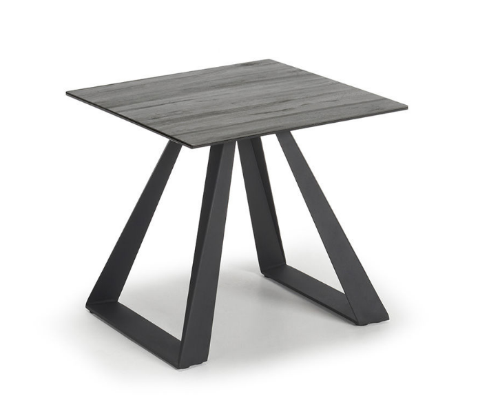 Black Base Grey Wood Effect Top Lamp Table