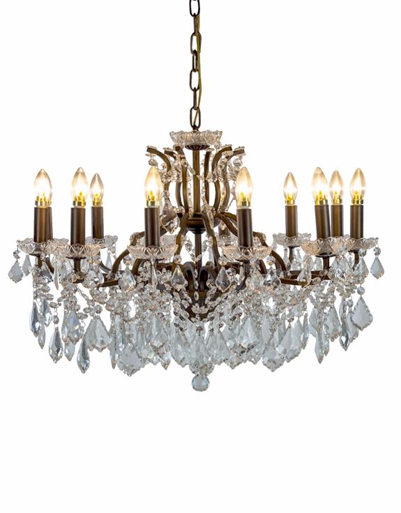 Large 12 Branch Bronze Shallow Glass Chandelier