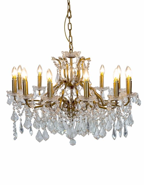 Large 12 Branch Shallow Brushed Gold Glass Chandelier