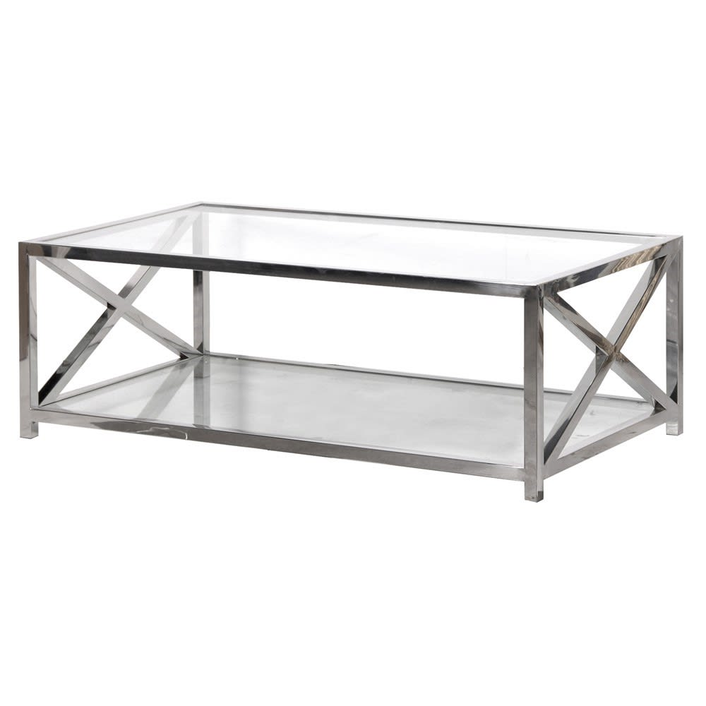 Large Glass and Steel X-Frame Coffee Table