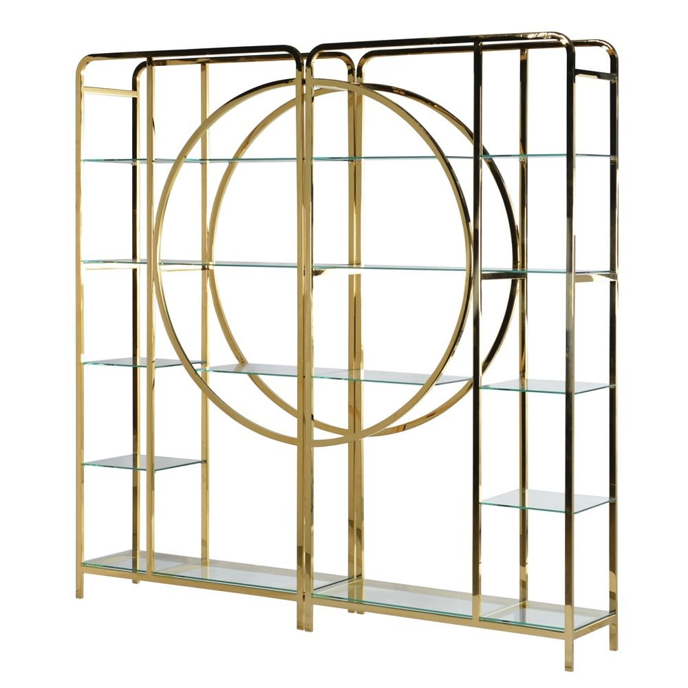 Large Gold Deco Display Unit with Glass Shelves