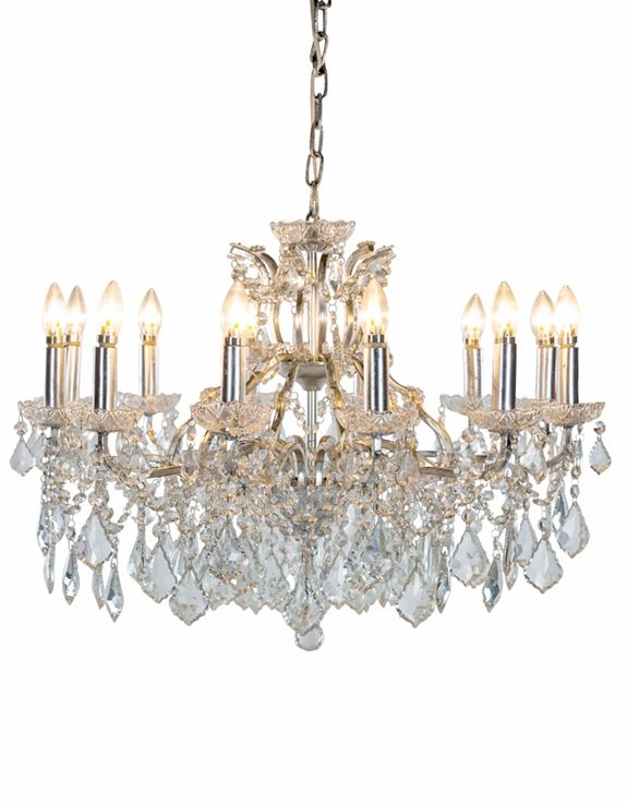 Shallow Antique Silver Leaf 12 Branch Chandelier