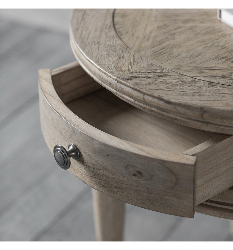 Henrique Round 1 Drawer Side Table