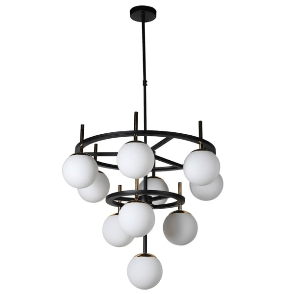 White Globe Black Chandelier