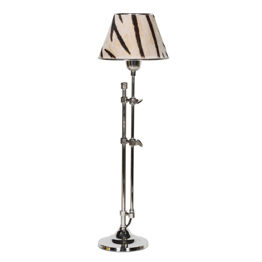 Nickel Lamp with Zebra Stripe Hide Shade