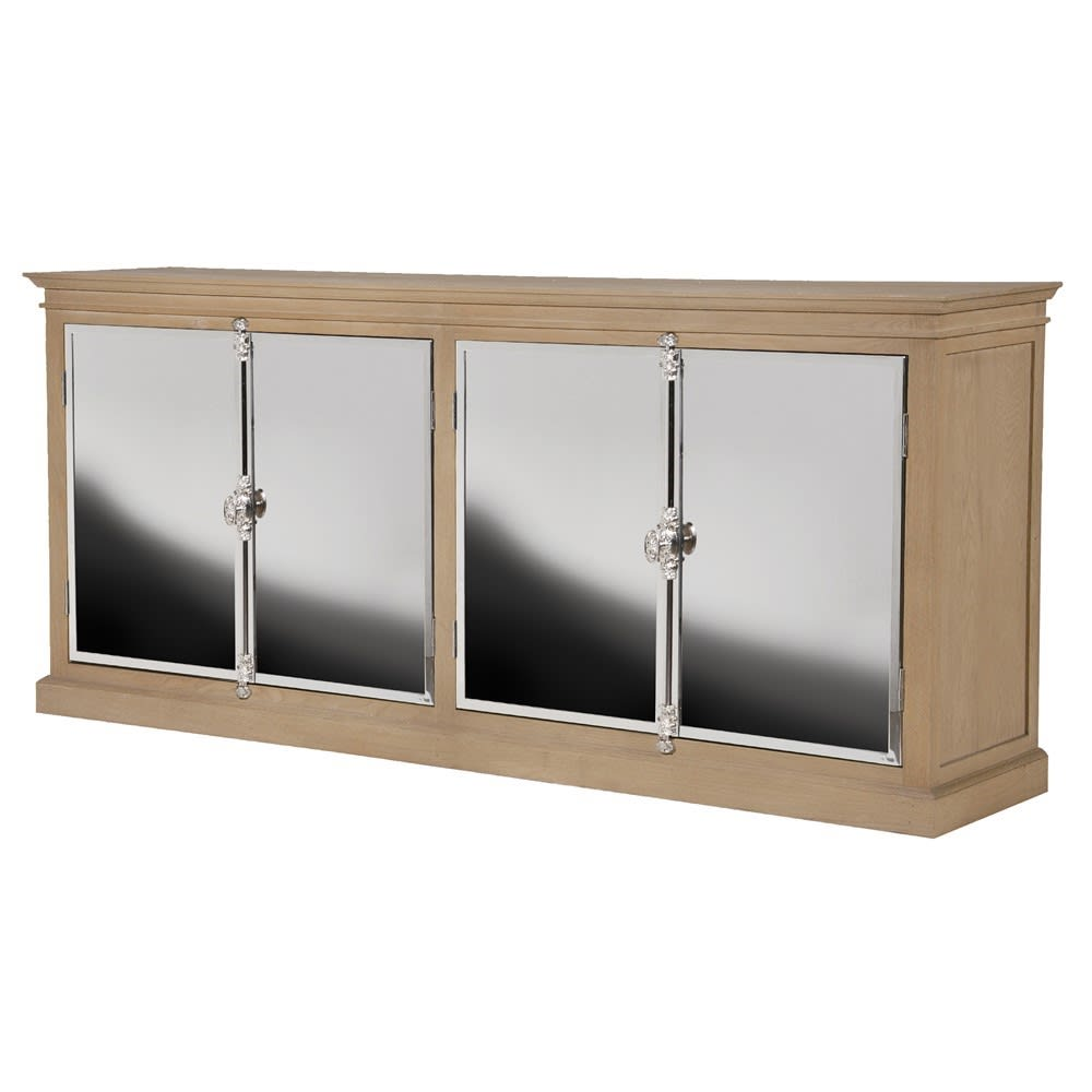 Oak and Chrome 4 Door Sideboard