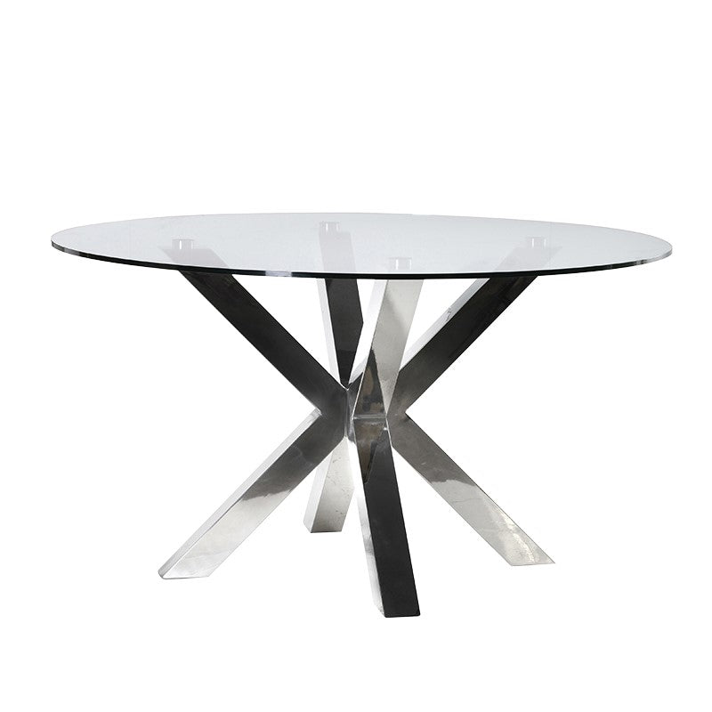 Mero Steel and Glass Round Dining Table