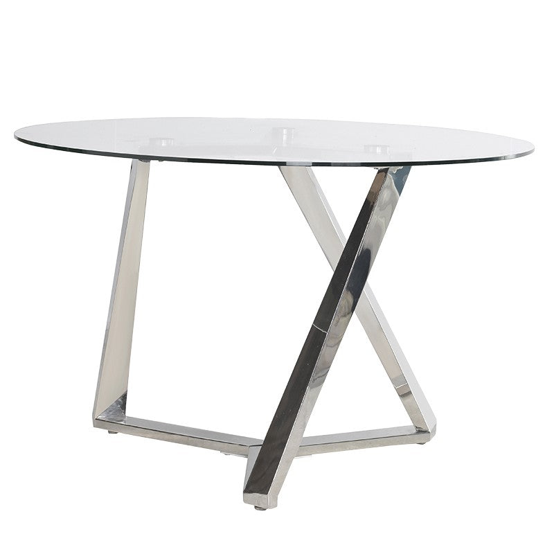 Mero Glass Dining Table with Steel Legs
