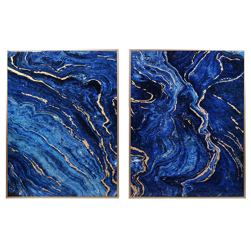 Cobalt Marble Effect Panels Set of 2