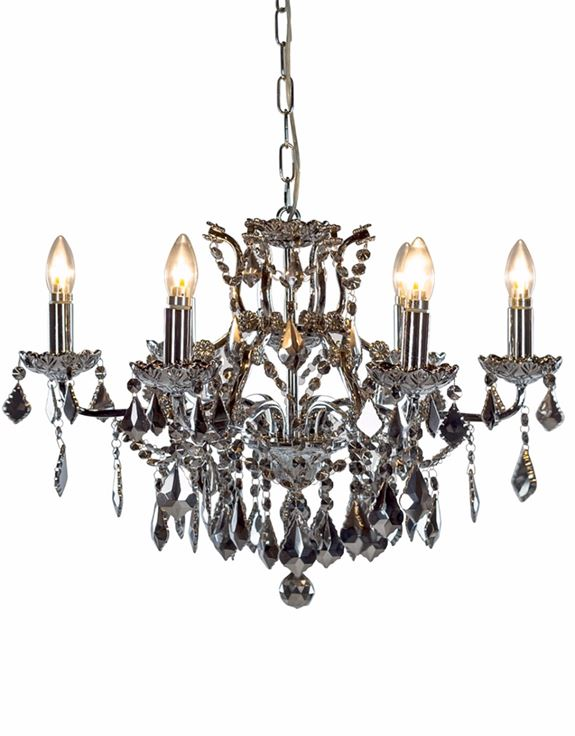 Chrome 6 Light Shallow Chandelier with Chromed Crystals