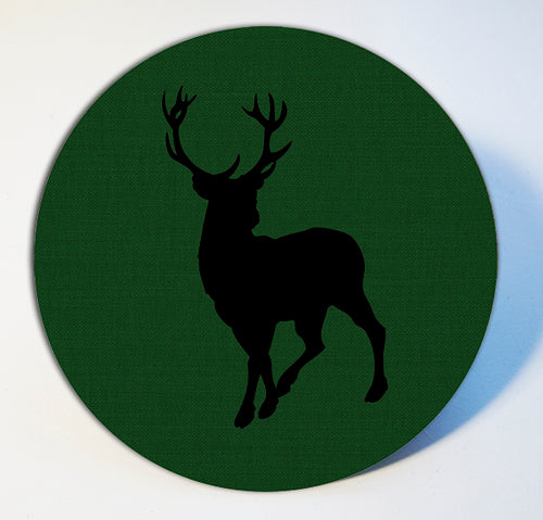 Stag on Green Linen Table Mat and Coaster Sets