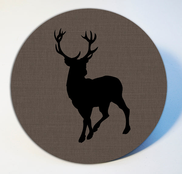 Stag on Grey Linen Table Mat and Coaster Sets