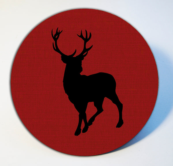 Stag on Red Linen Table Mat and Coaster Sets