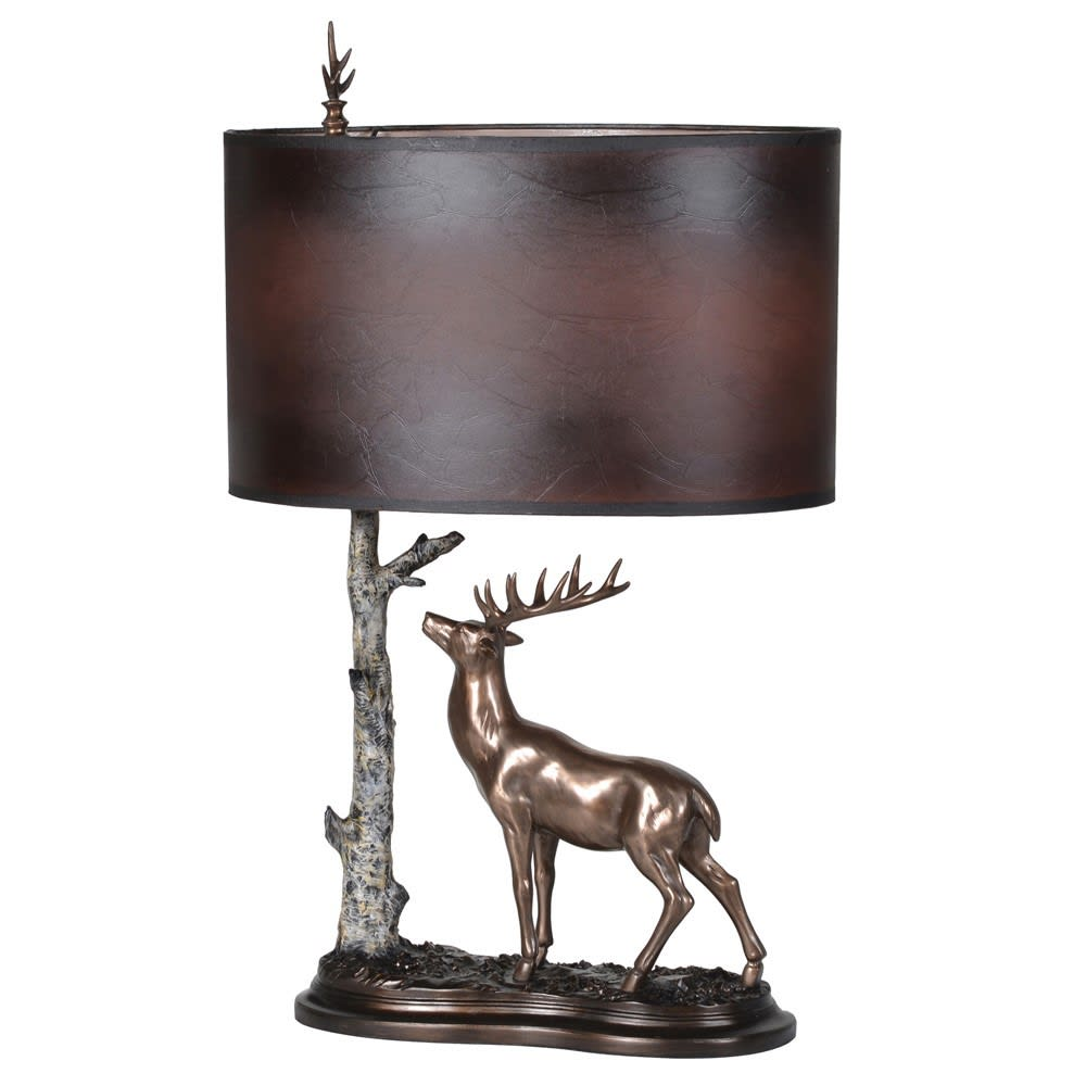 Stag and Tree Table Lamp with Shade