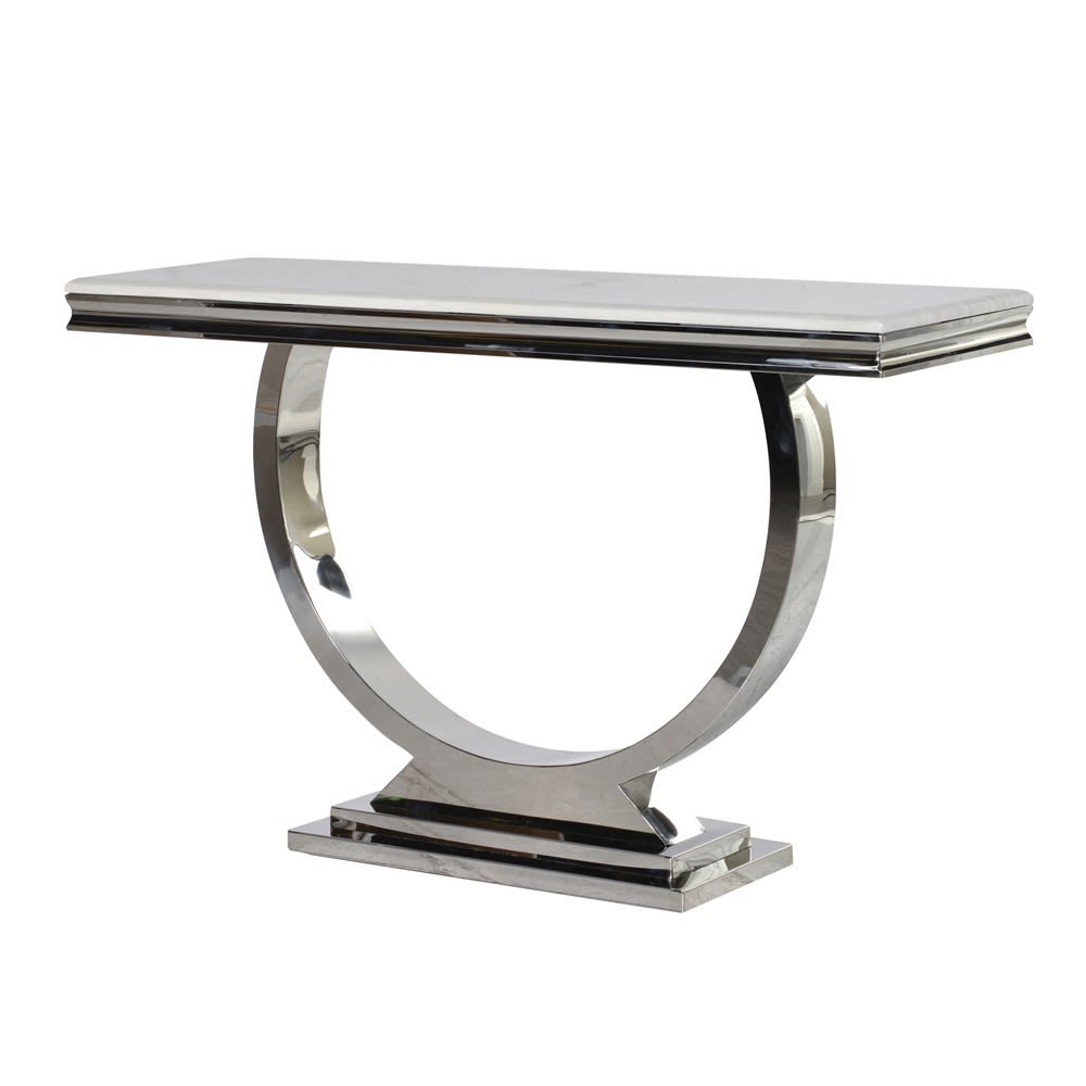 Steel & Composite Marble Console Table