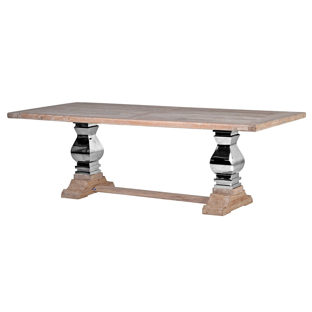 Small Steel and Wood Refectory Table