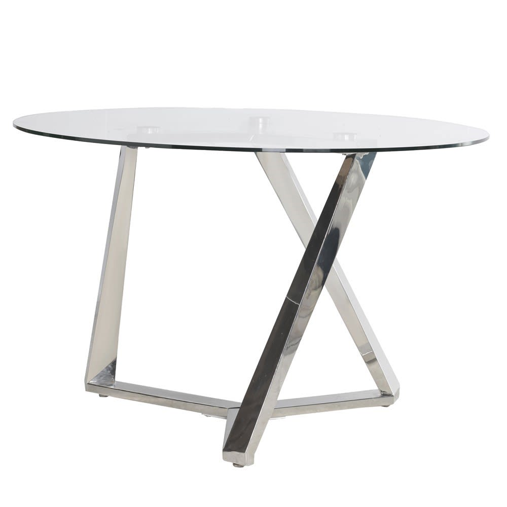 Terano Glass Dining Table with Steel Legs