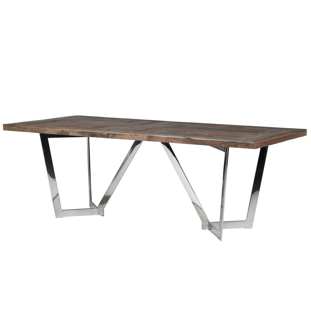 Toronto Reclaimed Elm and Stainless Steel Dining Table
