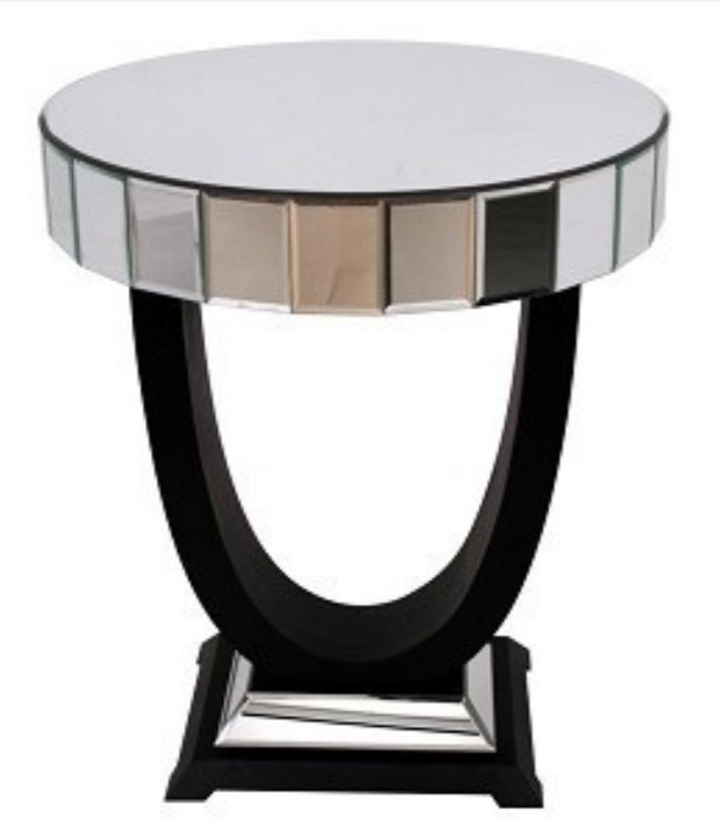 Mirrored Side Table with Black U Base