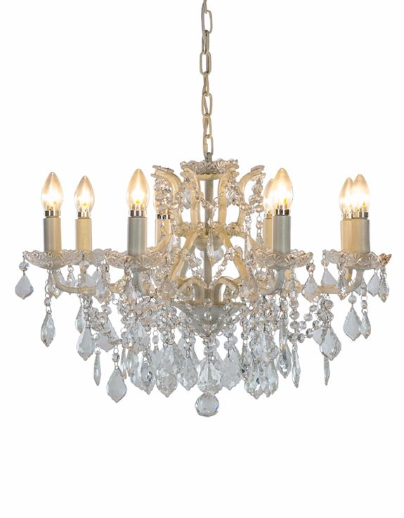 Antique Crackle White 8 Light Shallow Chandelier
