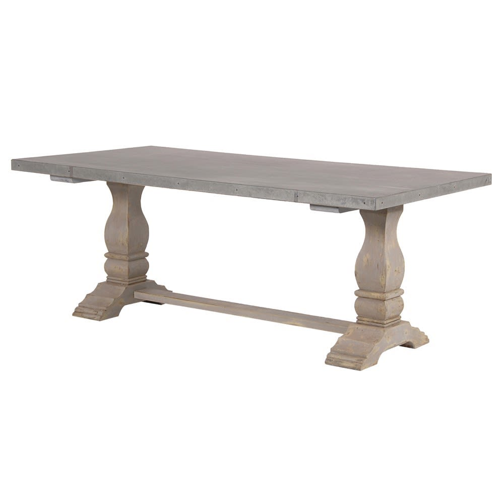 Zinc Top Distressed Dining Table