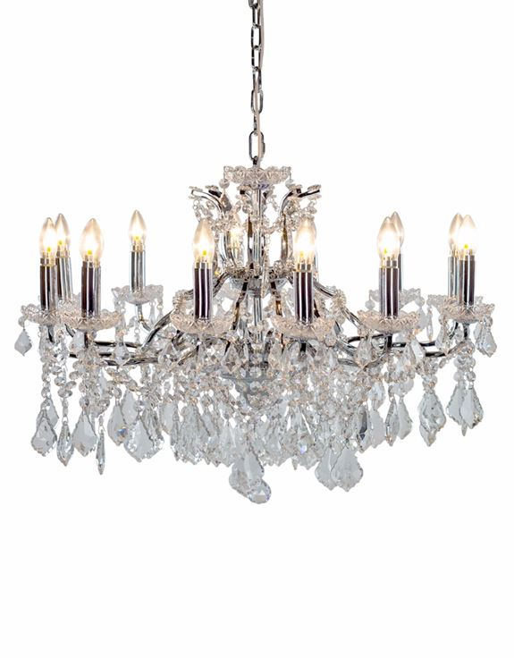 Large 12 Branch Chrome Shallow Glass Chandelier