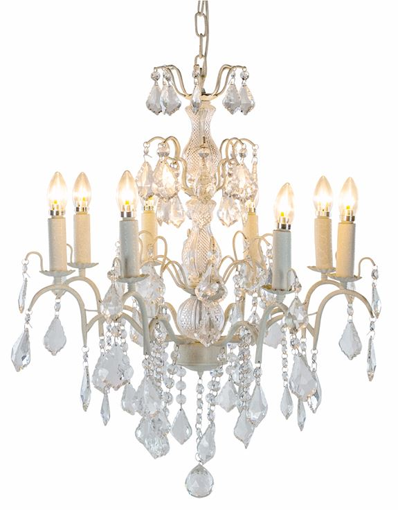 Large 8 Light Antique Crackle White French Chandelier