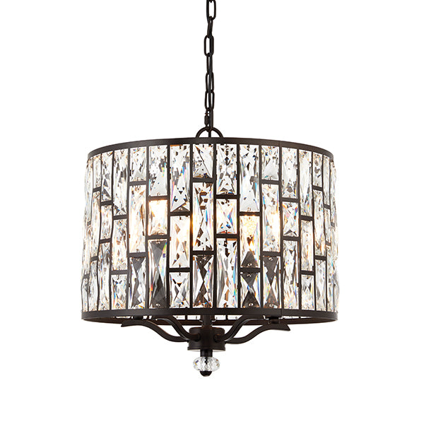 Dark Bronze 5 Light Ceiling Lamp with Crystal Pattern