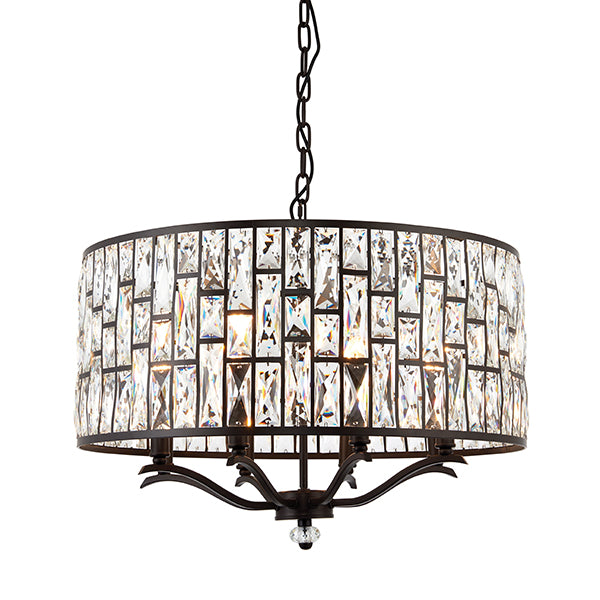Dark Bronze 8 Light Ceiling Lamp with Crystal Pattern