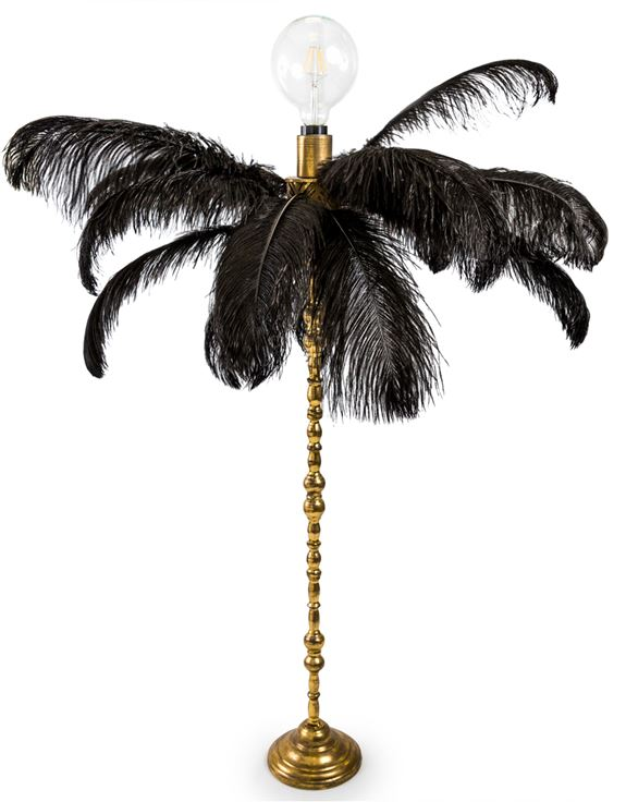 Large Black Ostrich Feather Table Lamp on Silver/Gold Base