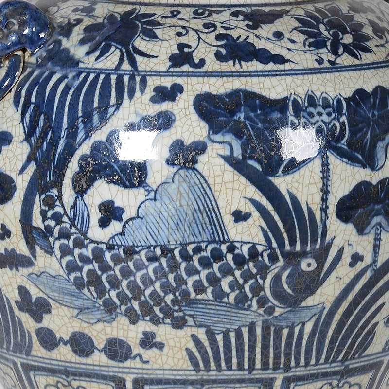 Blue and White Glazed Fish Pot