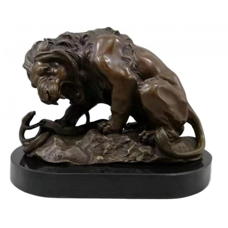 Bronze Lion and Serpent sculpture