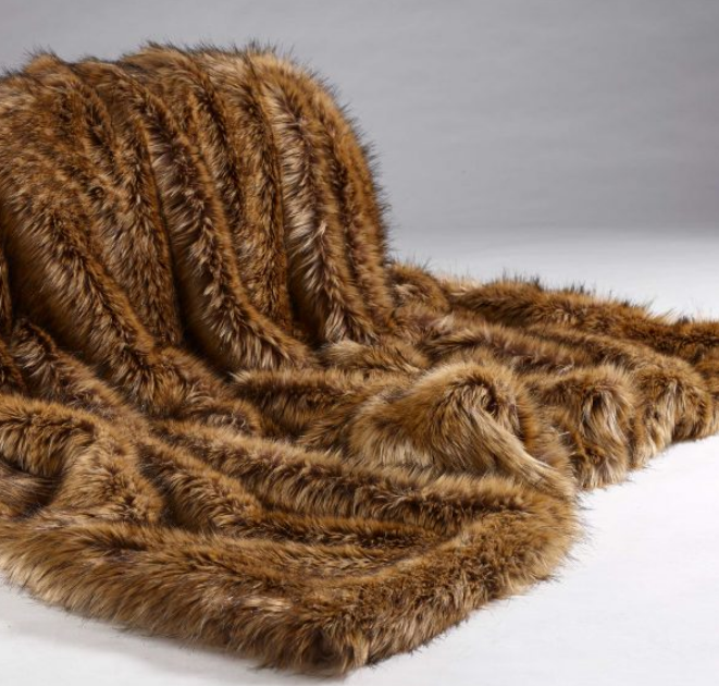 Brown Wolf Fur Throw