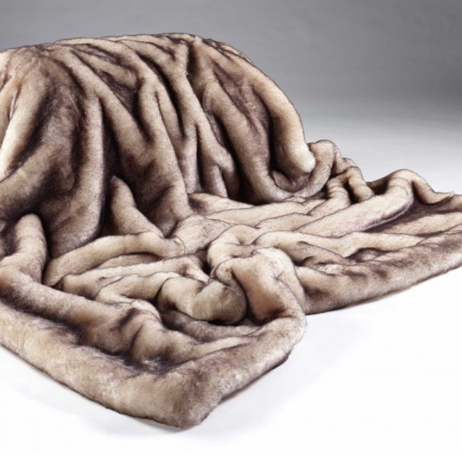Brown Snow Fox Fur Throw