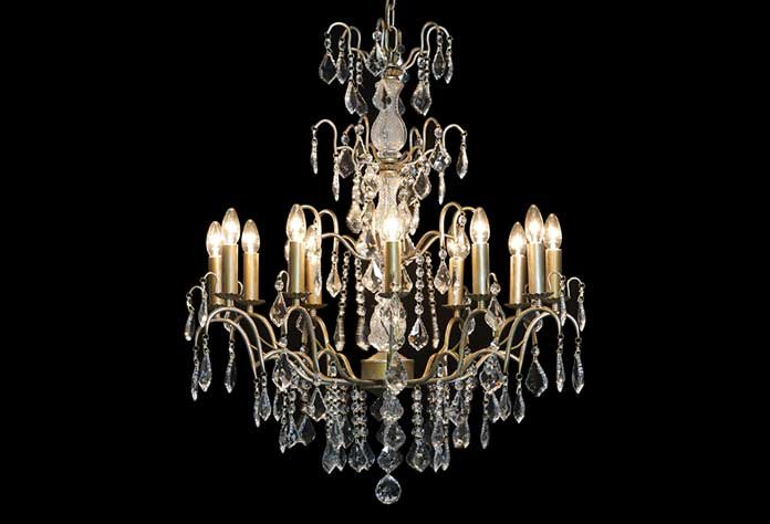 Large French Gold 12 Branch Chandelier