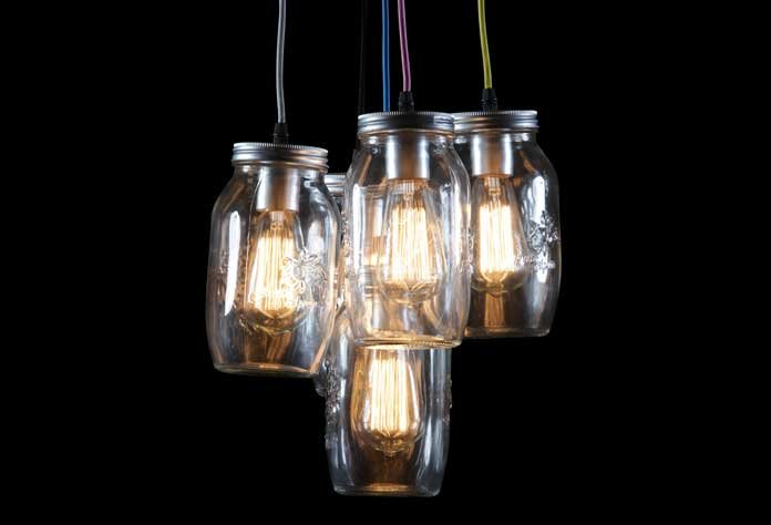 Silver Jam Jars Retro Pendant Light