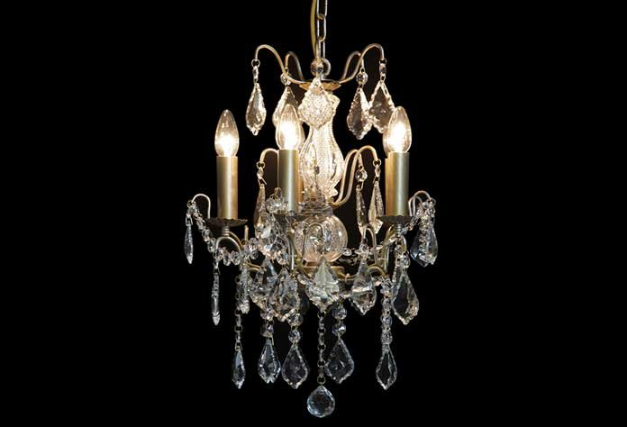 Small Antique French Style 5 Light Gold Chandelier